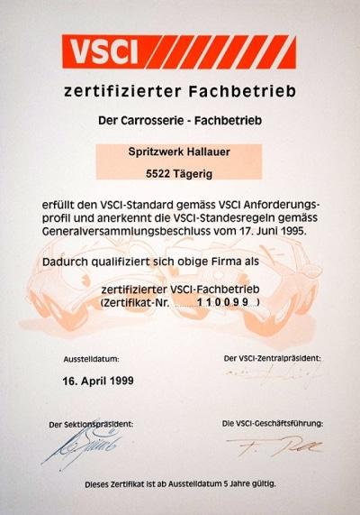 Zertifikat VSCI